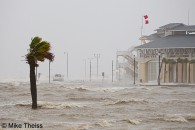 A truck gets stuck in the Storm surge covering Highway 90 in Gulfport, Mississippi during Hurricane Isaac.